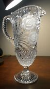Vintage Cut Glass Footed Pitcher With Frosted Flowers 12 1/2 Inches Tall
