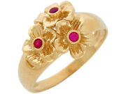 10k Or 14k Yellow Gold Bold Simulated Ruby Accented Ladies Gorgeous Floral Ring