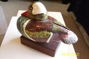 Duck Decoy Carved In The 40and039s - Hooded Meganser Ludington Michigan Jcas Lure Co