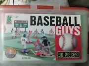 Kaskey Kids Baseball Guys Plastic Toys Field Players Red Blue Umpire Turf Old