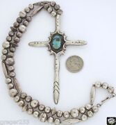Older Native American Silver Turquoise Sand Cast Cross Necklace Huge 5 By 3