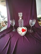 Vanentine Gift Collection Ceramic 1959 Planter Heart By Samson Glasses And Bottle
