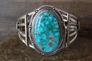 Navajo Indian Turquoise Sterling Silver Cuff Bracelet - Raymond Delgarito