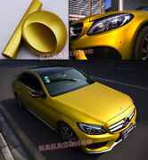 Entire Car Wrapping Paint Satin Matte Steel Chrome Vinyl Sticker Stretch Gold Us