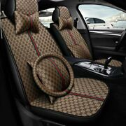 Us 5-seats Suv Car Seat Covers Universal Auto Accessories Front+rear Pu Leather