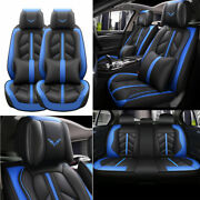 Blue Pu Leather Seat Covers Front Rear Set Interior Car Accessories Protectors