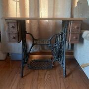 Antique Singer Sewing Machine Cast Iron Treadle/wood Drawer Cabinet Table Desk