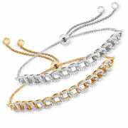 Diamond Set Two Chain-link Bolo Bracelets In Sterling Silver And 18kt Gold Over