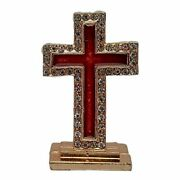 Brass And Goldplated With Stones Christian God Jesus Cross Sign Car Dashboard Idol