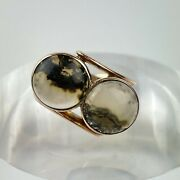 Fine Antique 9ct Rose Gold Two Stone Moss Agate Cocktail Ring Size P1/2 1913