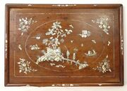 Plate Wood Mother-of-pearl Inlay Landscape Temple Characters Flower Vietnam Xixandegrave
