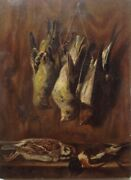 19th Century Flemish Old Master Oil Painting Trophy Game Bird Follower Jan Fyt