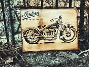 Indian Four Motorcycle Wooden Picture Home Decor Wall Art