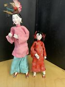 Antique Vintage Asian Chinese Doll Pair Mom And Daughter Silk Clothes Chalkware