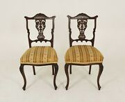 Antique Pair Of Upholstered Walnut Parlour Or Side Chairs Scotland 1900 B1364