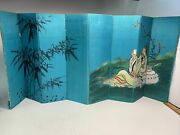 Antique Chinese Handpainted Silk Folding Table Screen Hand Painted 12 X 26 Inch