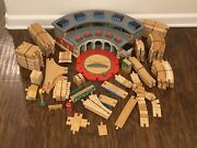 Thomas And Friends Train Lot Wooden Tidmouth Engine Shed Deluxe Roundhouse W/track