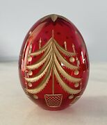 Ruby Red Glass Egg Gold Christmas Tree St Petersburg Russia Handi-work Faberge