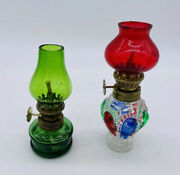 Lot 2 Vintage Miniature 3-1/2 Tall Oil Lamps With Wick Green Multicolor Glass