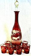 8 Pc.vintage Art Deco Ruby Red Cut To Clear Bohemian Glass Wine Decanter Deer
