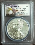 2013 W Silver Eagle Burnished Pcgs Ms70 First Strike - Eagle Label
