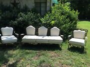 Vintage Classic Wrought Iron And Metal Garden Couch W/2 Chairs Leafy Floral Motif