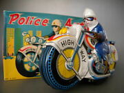 Tin Toys Police Auto Police Bike 20cm Good Friction Motorcycle Made In Japan