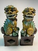 Antique Pair Foo Dogs With Baby High Detail Excellent Condition Signed