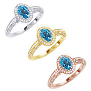 Oval Swiss Blue Topaz And 5/8 Ct Round Diamond 14k Gold Engagement Ring 8268.68