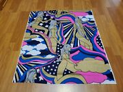 Awesome Rare Vintage Mid Century Retro 70s 60s Psychedelic Metallic Girls Fabric
