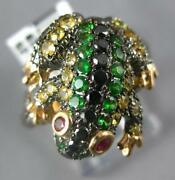1.04ct Black Diamond And Aaa Multi Gem 18kt Black And Rose Gold Happy Frog Fun Ring