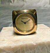 And Co   Dore Bronze   Mid Century Modern Mcm Dice Desk Clock Paperweight
