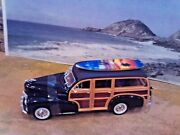 124 Scale Diecast Brown1948 Chevy Fleetmaster Woody Wagon Withfree Surfboard