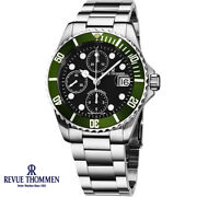 Revue Thommen 17571.6134 Xl Diver Automatic Black Green Silver Menand039s Watch New