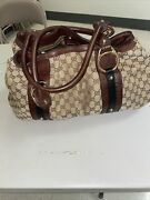 Auth. Monogram Large Tote With Interlocking G Ornaments And Studs