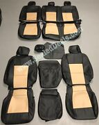 Ford F250 F350 Xlt Supercrew Katzkin Leather Seat Covers Black And Camel 2017-2021