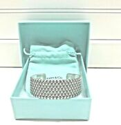 And Co. Sterling Silver Wide Studded Band Bangle Cuff Bracelet And Pouch Box