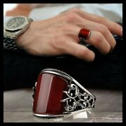 925 Sterling Silver Turkish Handmade Jewelry Agate Aqeeq Stone Menand039s Ring