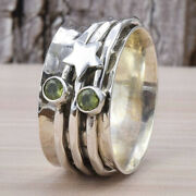 Peridot Spinner Ring 925 Sterling Silver Spinner Ring Star Ring All Size Am-91