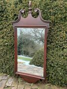 Large Antique American Mahogany Federal Style Flame Finial Colonial Mirror