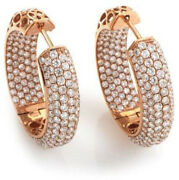 Black Friday 5.71cts Diamant Rond 14k Solide Or Rose Anneaux Boucles Dand039oreilles