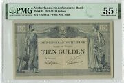 Netherlands 10 Gulden 1922 Pick 35 Pmg About Uncirculated 55 Epq