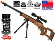 Airsoft Spring Sniper Rifle Bolt Action Wood Look High Fps + Scope Bipod Free Bb
