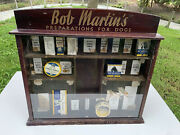 Vintage Veterinary Dog Advertising Bob Martinand039s Dealer Display Case Wth Contents