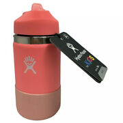 Hydro Flask For Kids 12 Oz Wide Mouth W/ Straw Lid And Boot Hibiscus New