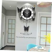 Anmiki 14.9 Inch Metal Black Drop Wall Clock,pretty Butterfly Design,non-ticking