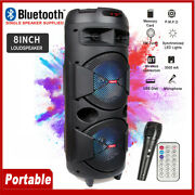 8and039and039 Portable Bluetooth Party Speaker Subwoofer Heavy Bass System W/ Microphone