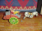 Unique Art Hee Haw Wind Up Wagon And Horse Tin Toy Litho