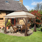Suntime Outdoor Pop Up Gazebo Canopy With Mosquito Netting And Solar Canopy