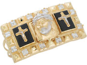 10k Or 14k Two-tone Gold Onyx And Cz Magnificent Jesus Crucifix Two Finger Ring